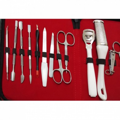 Professional Manicure and Pedicure 15 Piece Stainless Steel Set in a compact Leather Black Case