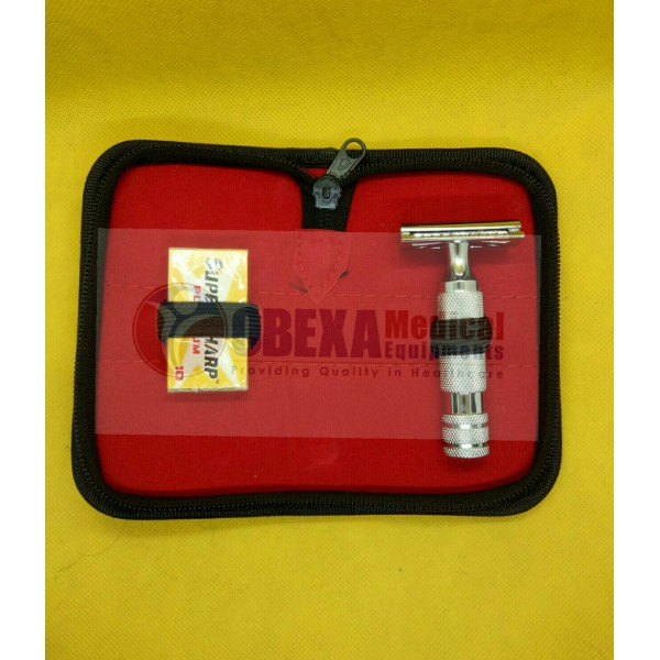 Short Handle Shaving Safety Razar Stainless Steel Free Case 10x Blades