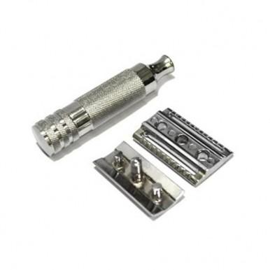 Short Handled Double Edge Safety Razor - Silver