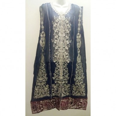NAVY BLUE 2 PC EMBROIDED CHIFFON DRESS for WOMEN OA-1101