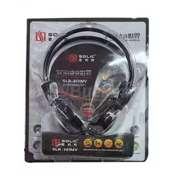SOLIC Wired Headphones - SLR-301MW - 3.5mm - Black