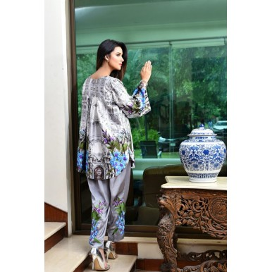 Spring Blossom Digital Silk Top and Trouser for Ladies