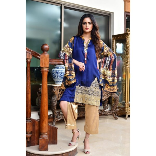 Blue Fandom Silk Top and Trouser for Parties