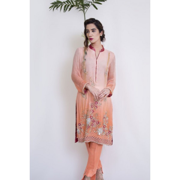 Diva Peach Color Embroidered Dress for Ladies