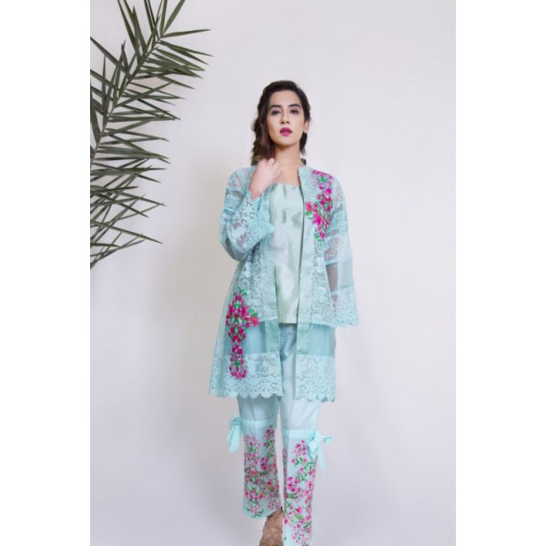 Spring Bouquet Dress in Turquoise Color for Women
