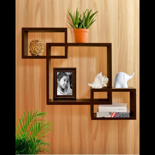 Wooden Rectangular Floating Wall Shelves-Retro Style for Book Organizer Storage, Black