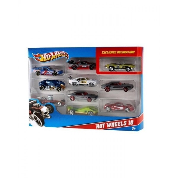 Hot Wheels Set of 10 Die Cast Cars  Multicolour