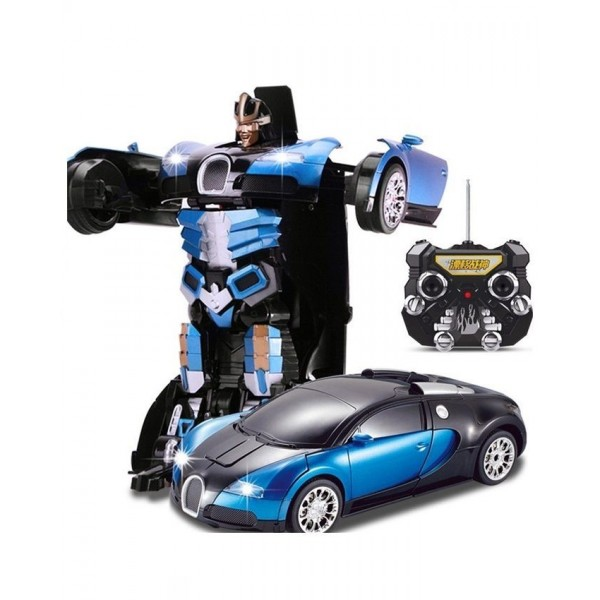 Remote Controlled TRANSFORMER - BUGATTI Toy Car in BLUE