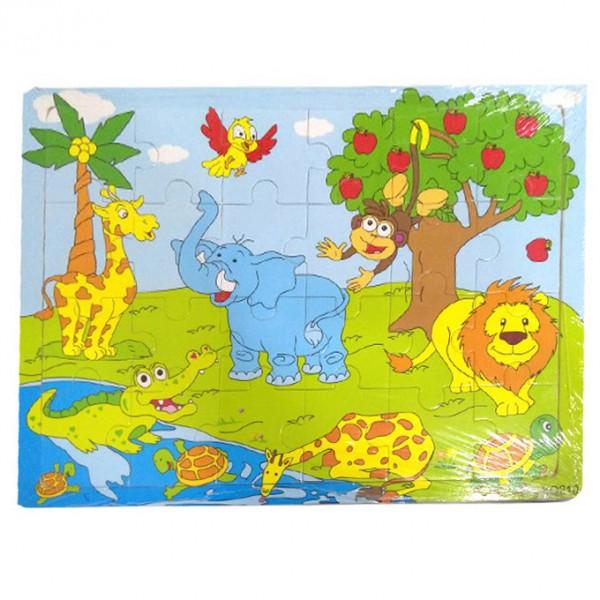 Happy Jungle Animals - Wooden Puzzle