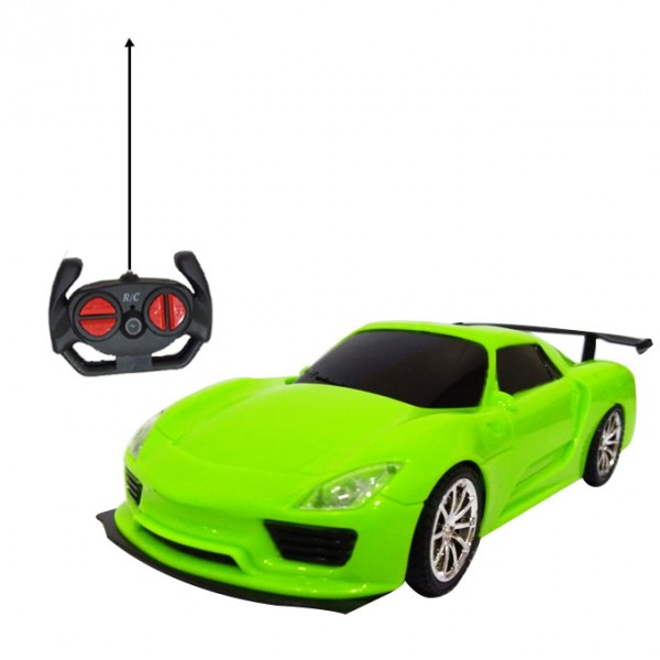 Remote Controlled Street Racer Toy Sports Car for Kids in Green Color 4 Channel