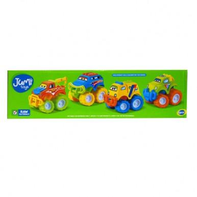 Happy Motorcade Funny Monster Trucks Toy for Kids - 4 pcs