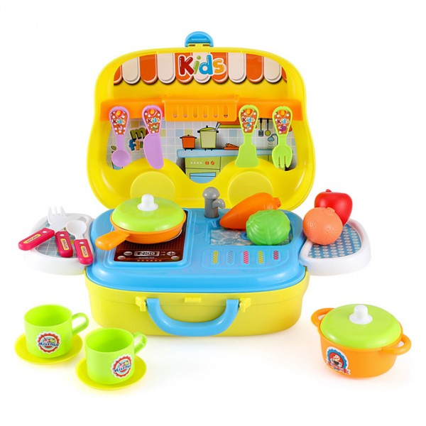 Cooking Chef Kitchen Pretend Play Set in Briefcase for Kids in Yellow Color