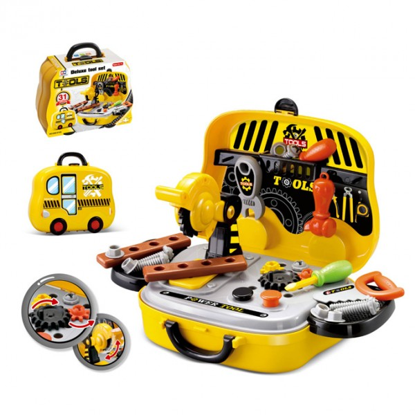 Construction Tools Pretend Play Set Briefcase - Yellow