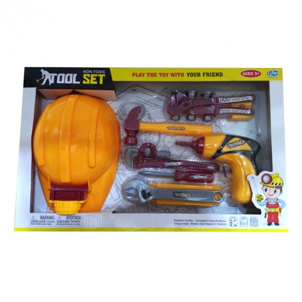 Construction Tools with Helmet and Battery Drill