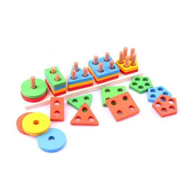 5 column - Geometric Shape Sorter - Wooden
