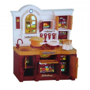 Classic Brown Country Kitchen Set for Baby Girls with Light and Sound