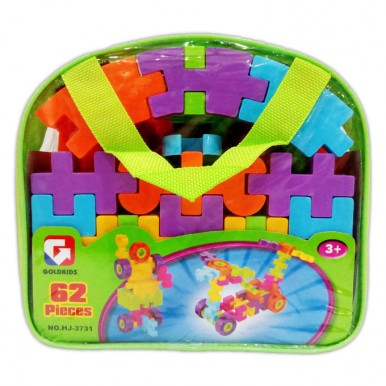 Colorful Waffle Blocks Bag for Kids - 62 pcs