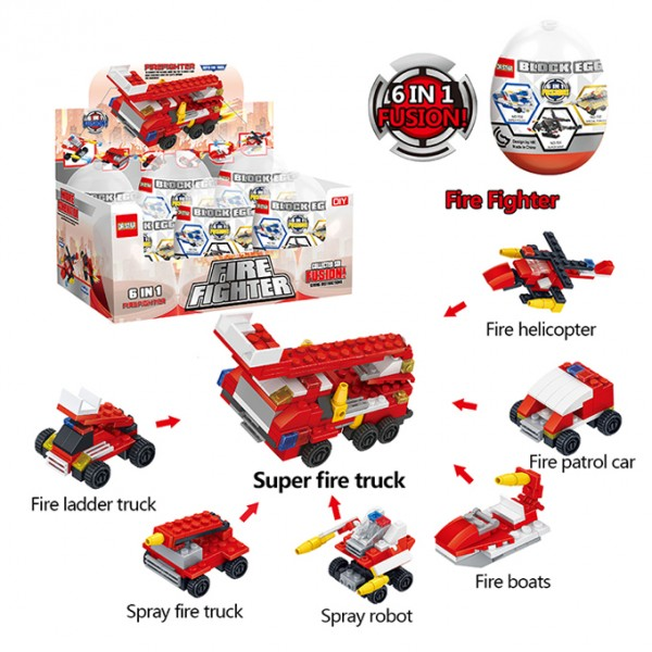 6 in 1 - Super Fire Fighter Engine Truck - Building Blocks