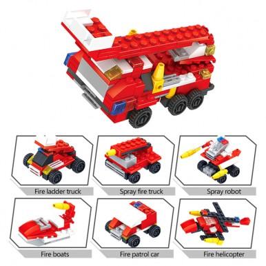 6 in 1 - Super Fire Fighter Engine Truck - Building Blocks