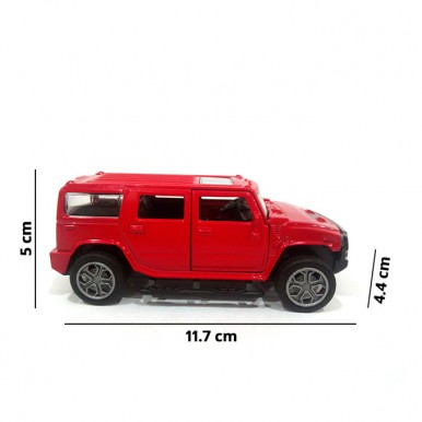 Hummer Scaled Model Metal Pull Back Die Cast with Light and Sound Toy Car for Kids in Red Color