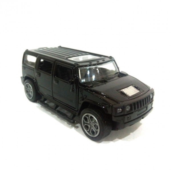 Hummer Scaled Model Metal Pull Back Die Cast with Light and Sound Toy Car for Kids in Black Color