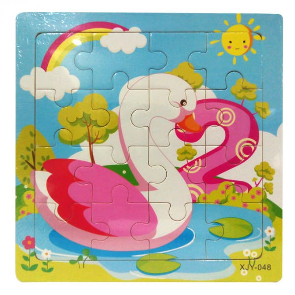 Swan Printed Wooden Jigsaw Puzzle for Kids - 6 inch