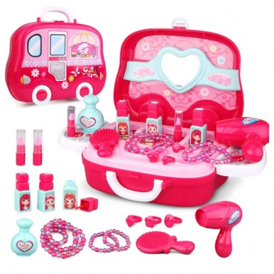 Beauty Pretend Play Set Briefcase with Girls Accessories in Pink Color