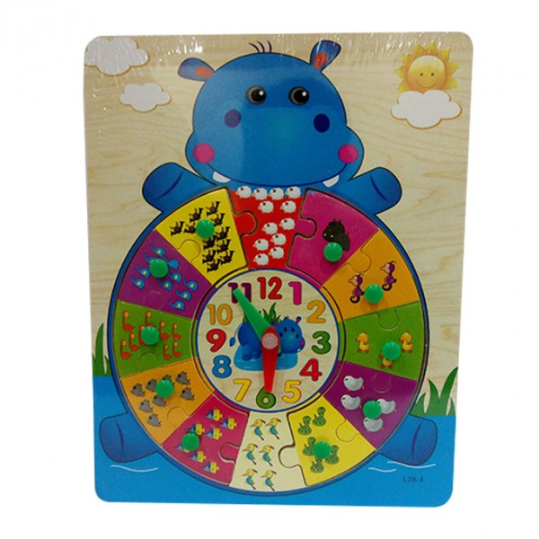 Cute Hippo Time Teaching and Counting - Wooden Board Puzzle