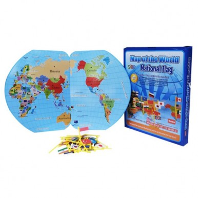 Educational Wooden World Map with 36 National Flags for Montessori Kids