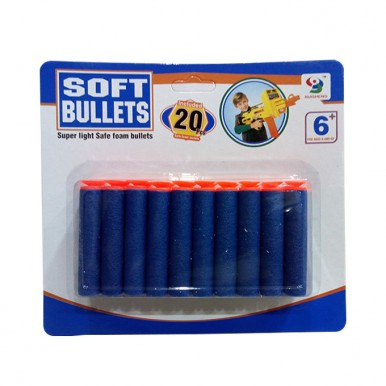 Soft Dart Stick-On Foam Nerf Refill Bullets - 20 pcs - Blue