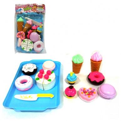 Happy Cake and Ice Cream Dessert Cutting Plastic Food Tray Set