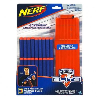 Nerf N-Strike Elite Series 18-Dart Quick Reload Magazine Clip with 18 Elite Rubber Bullet Head Soft Darts