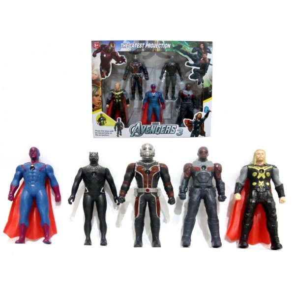 Pack of 5 Marvel Avengers Action Figures With Projector Function - Option B - 6 inches