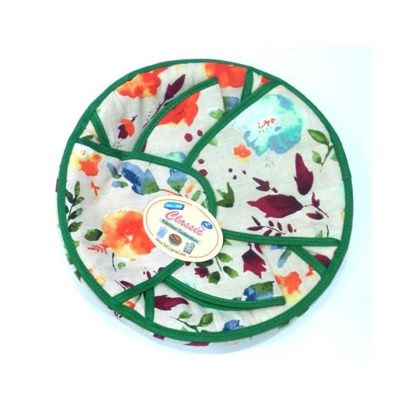 Cotton Roti Basket - Round - Flower Design