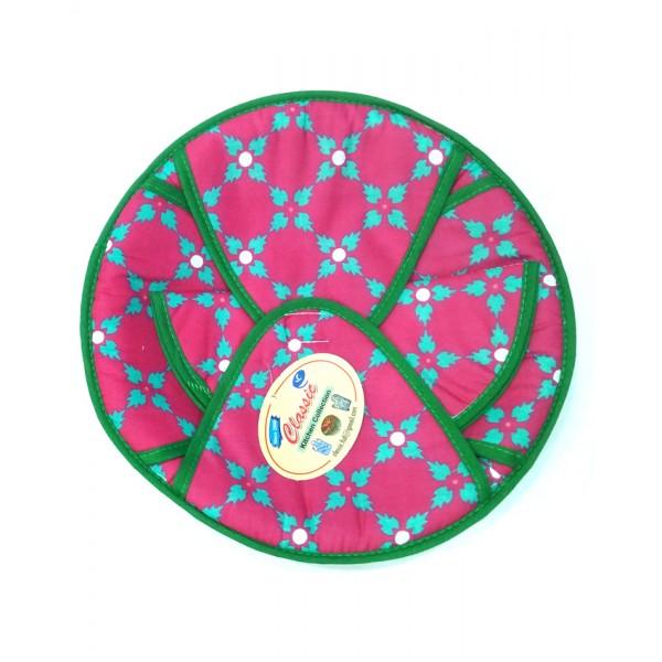 Cotton Roti Basket - Round - Purple Flower