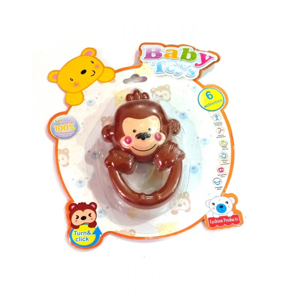 Baby Activity Toy - Monkey Design Baby Teeth Ring in Brown Color