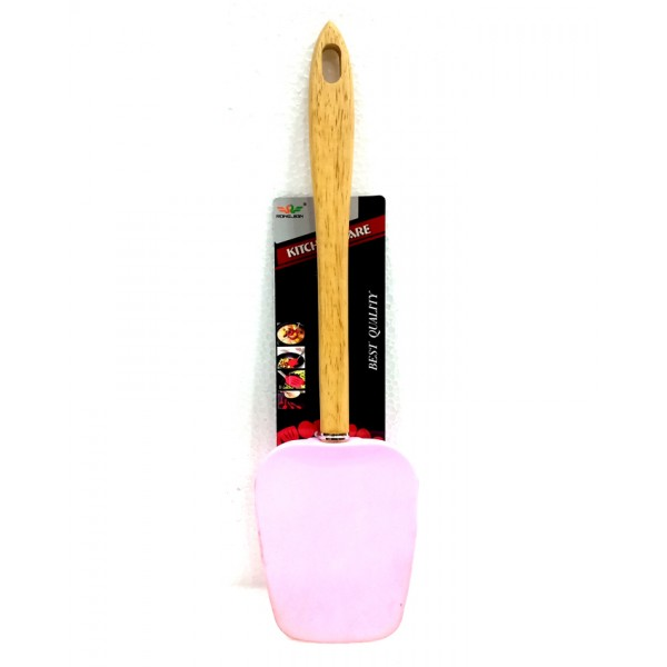 Silicone Spatula with Wooden Handle in Blue Color