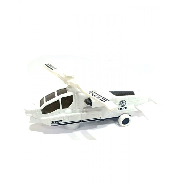 3D Lights Swat Helicopter in White Color