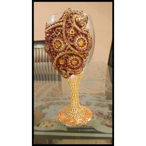 Stonework Wedding Glass - special glass for doodh pilaii rasam
