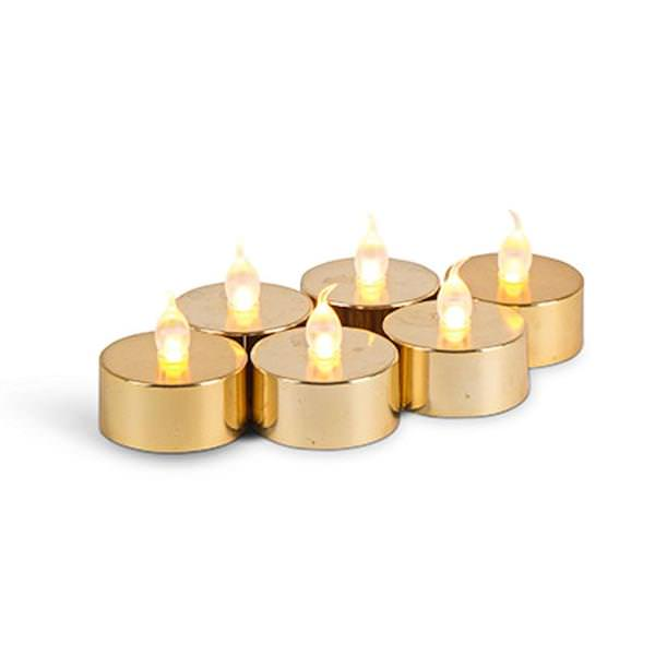Pack of 6 Golden LED Candles
