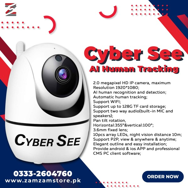 Cyber See Home Security Camera with Wi-Fi, Human & Pet AI, Motion Tracking , Support up to 128G TF card storage