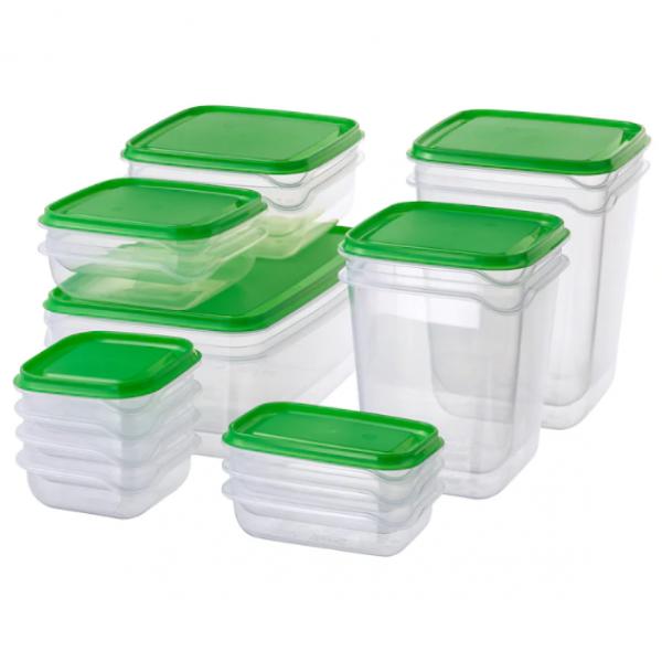 PRUTA Food container, set of 17, transparent