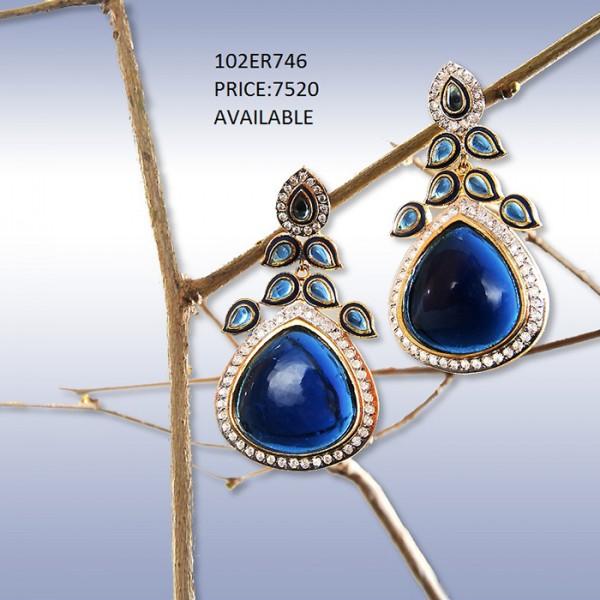 Elegant Blue Stone Earrings By Rijas Infinity (102ER746)