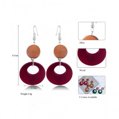 Wood Round Drop Earring Brown/Red for Women – AE38