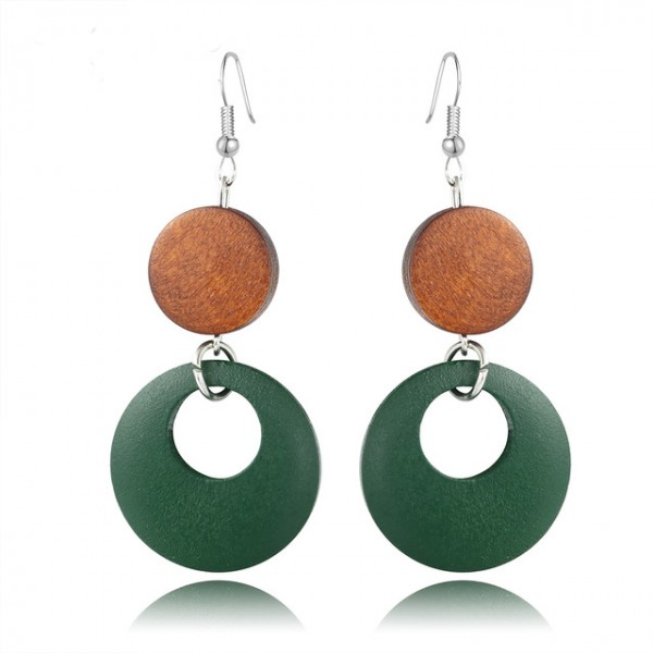 Wood Round Drop Earring Brown/Green for Women – AE40