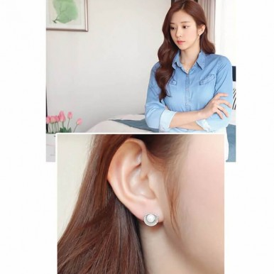Shell Design Pearl Stud Earring Silver – AE50