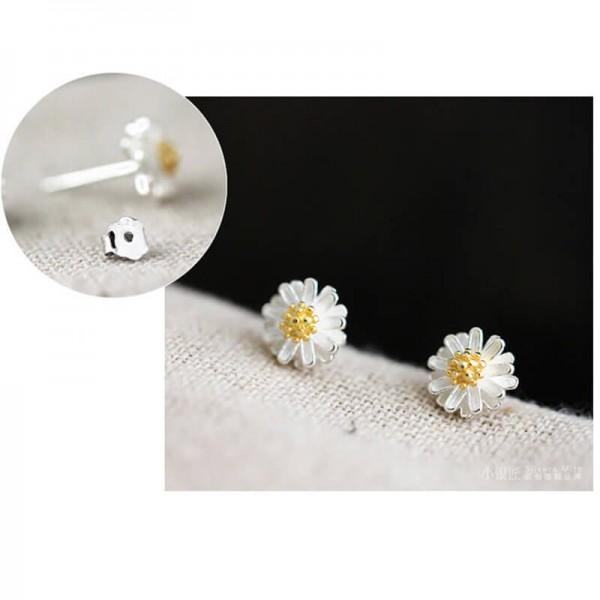 Flower Silver Zircon Stud Earring – AE51