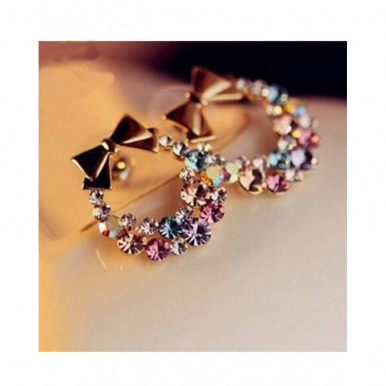 Multi Color Rhinestone Earring With Bow Design for Women – AE41