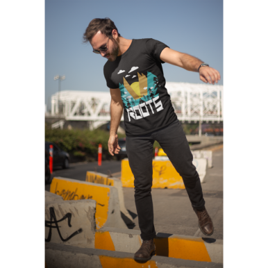 MOUNTAIN DESIGN T-SHIRT For HIM in BLACK COLOR