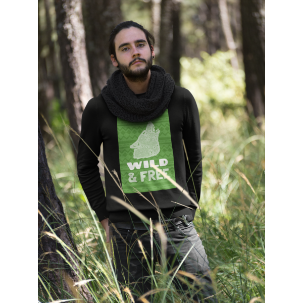 WILD AND FREE SWEATSHIRT FOR MEN In BLACK COLOR